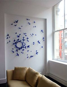 Trendy Home Art Installation Artworks Ideas Diy Wall Art, Home Decor Wall Art, Home Art, Diy Home Decor, Room Decor, Decoration Creche, Butterfly Wall Decor, Diy Wand, Ideias Diy