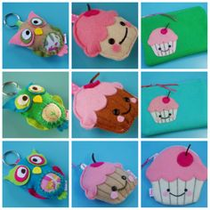 Cute felt handmade pouches, keychains and wallets