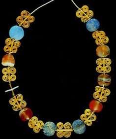 Necklace circa 14-13th century BC, found at Mari, a flourishing city west of the Euphrates~