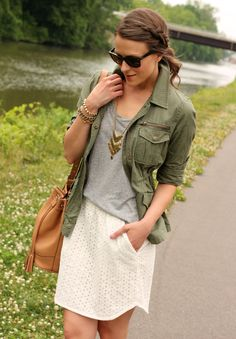 Penny Pincher Fashion: Dressed Up & Down, White eyelet skirt, military green jacket, gold accents