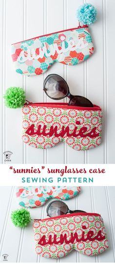 A free sewing pattern for a sunglasses case. How to sew a sunglasses case. #sewing #sewingpattern #sewingpatterns #rileyblake #sewingtutorial #DIY #freesewingpattern #sunglassescase #sunglasscase #polkadotchair