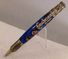 Absolutely Beautiful Handmade Nautical Pen made with Rain Burl & Blue colored Alumlite with Antique Brass hardware, Handcrafted, sailor, 265 by JDHomeGallery on Etsy