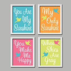 Teal Pink Orange Yellow Bird - You Are My Sunshine 8x10 Set of 4 Wall Art Decor Prints PosterKid Room Typography via Etsy