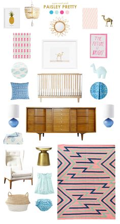 aqua and pink baby nursery inspiration, i know this is for a nursery but i like this mood board for OUR room Baby Room Decor, Nursery Room, Girl Nursery, Girls Bedroom, Nursery Inspiration, Nursery Ideas, Room Ideas, Big Girl Rooms, Boy Rooms