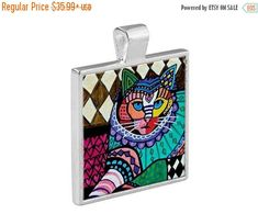40% off- Cat Folk Art Jewelry - Pendant Metal Gift Art Heather Galler Gift- Cat Lovers Abstract Modern Vegan Gifts