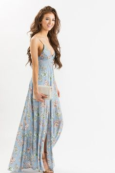 This pastel floral maxi dress has the prettiest unique back cutout and tassel tie detail! Not only does the print look gorgeous from head-to-toe, but we're obsessed with how flattering and feminine th