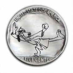 Hong Kong Phooey #420 Hand Engraved  Hobo Nickel  by Luis A Ortiz