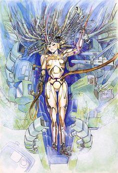 Art by 士郎 正宗 Masamune Shirow* Manga Anime, Art Manga, Old Anime, Manga Artist, Cyberpunk 2020, Cyberpunk Kunst, Masamune Shirow, Japanese Robot, Steampunk