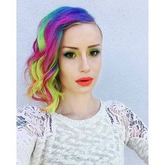 The gorgeous Emily Anderson Makeup used Lie Locks, Hot Hot Pink, Atomic Turquoise, Electric Lizard and Sunshine for her lovely rainbow hair!