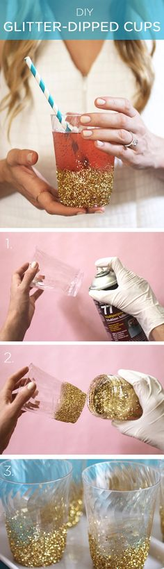 Glitter-dipped cups!  Perfect DIY wedding gift for your girls!
