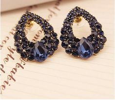 Blue Crystal Stud Earrings Vintage Earrings by JewelryTee on Etsy. These gorgeous blue crystal studs are definitely a keeper. Available for $8 Visit our store for more items:https://www.etsy.com/shop/JewelryTee