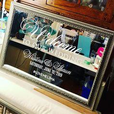"Write It Out Loud on Instagram: ""Welcome to our wedding!  #lovemelima #june152019 . . . . #writeitoutloud #welcomemirror #weddingwelcomesign #happilyeverafter #weddingdecor…"" Wedding Mirror, Wedding Reception Signs, Welcome To Our Wedding, Out Loud, Happily Ever After, Mirrors, Wedding Decorations, Writing, My Love"