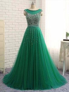 Ball Gown Scoop Neck Sweep Train Tulle Beading Prom Dresses #PED020105410