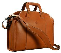 """Handmade Leather Briefcase - Messenger Bag - Laptop Bag. Hand-burnished, handmade leather chestnut Deal Bag; 18 x 12 x 5""""    www.glaserdesigns.com  glaserdesigns.wordpress.com"""