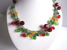 Bendyable argenté rouge vert jaune perles par ManuelledeParis