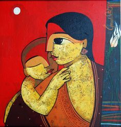 artist Ganesh Patil - born in Pune, Maharashtra - India Indian Art Paintings, Modern Art Paintings, Canvas Painting Tutorials, Ganesha Painting, Jesus Art, Indian Folk Art, Famous Art, Angel Art, Asian Art