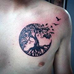 Mens Upper Chest Birds Flying Circle Tree Of Life Tattoo