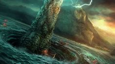 GREECE's_Charybdis: The daughter of Poseidon and Gaia; Charybdis is a huge bladder of a creature whose face is all mouth and whose arms and legs are flippers. Greek Monsters, Sea Monsters, Greek Sea, Greek Gods, Mythological Creatures, Mythical Creatures, Dragons, Portal, Mythology Books