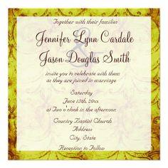 Vintage Rustic Country Swirls Wedding Invitations
