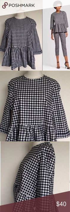 Victoria Beckham Gingham Peplum Top Sz L New with tags. SOLD OUT! Runs really big. This will fit a lady within size 16-18. I am a size 12 and I had to get a small. Looks Amazing with skinny jeans and pumps 👠❤️ Victoria Beckham for Target Tops Blouses