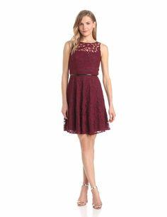 Donna Morgan Womens Lace Full-Skirt Dress