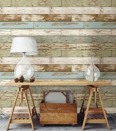 Adding a wood feature wall to your home has never been easier. This peel and stick wallpaper is easy to use and won't harm your walls. #windowfilmworld #windowfilm #wallpaper #walldecor #homedecor #homedesign