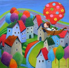 "Artist: Iwona Lifsches; Acrylic 2014 Painting ""Over The Rainbow Town, SOLD"""