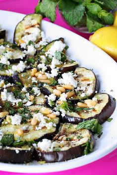 Grilled Eggplant with Balsamic, Goat Cheese, and Pine Nuts