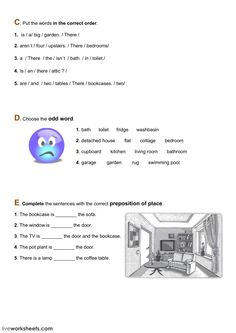 Lexis and grammar - the house - Interactive worksheet Worksheets, English Exercises, English Vocabulary, Teaching English, Grammar, Language, Education, Words, Cookware