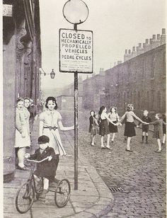 Play street in Salford, Lancashire, Play streets were still in operation when I was a child. Old Pictures, Old Photos, Vintage Photos, Antique Photos, Vintage Photography, Street Photography, Manchester Uk, Salford, Childhood Days