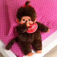 Do you remember these from the '80s?  Monchichi, monchichi, oh so soft and cuddly.  With his thumb in his mouth he looks so cute....