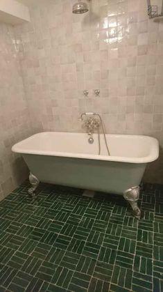 Green Tiles, Powder Room Design, Brick Loft, Bath Tiles, Corner Bathtub, Cape Cod, Apothecary, Tile Floor, Aesthetics