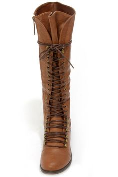 Georgia 35 Tan Lace-Up Knee High Boots at LuLus.com. $50. replace strings with lace