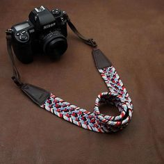 Weaving Style DSLR Color Handmade Leather Camera Strap 8799
