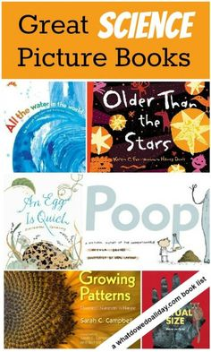 Great list of science picture books that cover a range of science concepts. books Great Science Books for Kids Kindergarten Science, Elementary Science, Science Classroom, Teaching Science, Science Education, Science For Kids, Science Activities, Science Ideas, Science Experiments