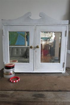 Vintage White Shabby Chic Mirrored Bathroom Vanity Wall Cupboard Cabinet Unit