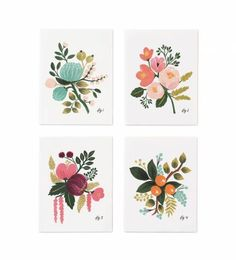 Rifle Paper Co. - Botanical - Set Of 8 Folded Cards, 2 Of Each Design