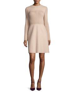 VALENTINO Long-Sleeve Jewel-Neck Sweater Dress, Beige. #valentino #cloth #