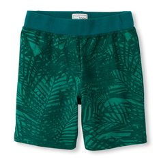 Baby Boys Toddler Boys Palm Print French Terry Knit Shorts - Green - The Children's Place