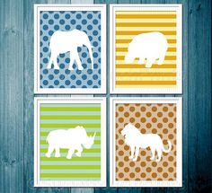PLAYROOM Safari nursery print set - set of four 8x10 - $64.00, via Etsy.
