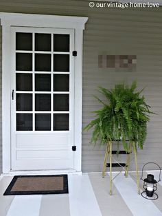 painted stripes ... cute, quick, inexpensive and easy way to spruce up the front porch