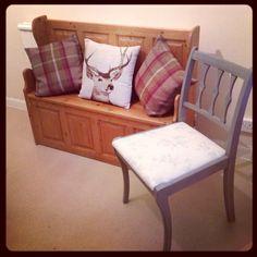 Mini church pew, tartan cushions, french grey Annie sloan reclaim chair