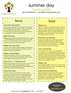 Yogi's Summer Day Tip Sheet http://yogahealer.com/ayurveda-cheat-sheets/