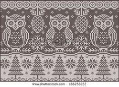 Knitted pattern with owls. Fashionable northern pattern. Vector creative illustration with winter birds.