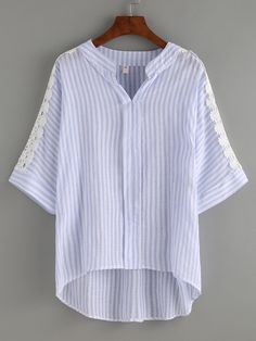 SheIn offers Lace Insert Blue Striped Dip Hem Blouse & more to fit your fashionable needs. Summer Fashion Outfits, Boho Fashion, Blouse Styles, Blouse Designs, Sleeves Designs For Dresses, Blouse Models, Batik Dress, Summer Blouses, Lace Insert