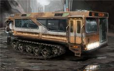 Next stop: Apocalypse Army Vehicles, Armored Vehicles, Bus Art, Hors Route, Post Apocalyptic Art, Steampunk Design, Steampunk City, Death Race, Image Digital