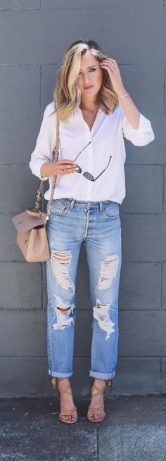 Lately on Instagram...  ripped jeans, classic white button down, tie up nude heeled sandals, nude satchel {instagram roundup}