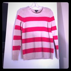 Tan and Red Sweater Ann Taylor PETITE khaki and red striped sweater. Hardly worn, needs a good home! Perfect with jeans and boots for winter. Nylon/modal/wool blend. Not scratchy at all. Make an offer!! Ann Taylor Sweaters Crew & Scoop Necks