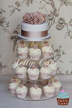 wedding cakes with cupcakes Taupe Roses Wedding Cake Cupcake Tower Wedding, Wedding Cake Roses, Wedding Cake Rustic, Wedding Cakes With Cupcakes, Beautiful Wedding Cakes, Gorgeous Cakes, Rose Wedding, Taupe Wedding, Cupcake Towers