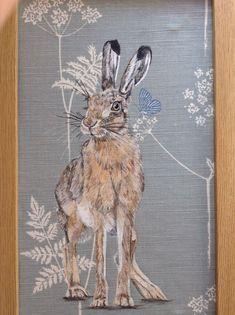 Original Wild Hare Animal Art Picture Painting Vanessa Arbuthnott Fabric | eBay